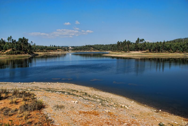 Body of Water at Carril Dam in the City of Tomar in Portugal