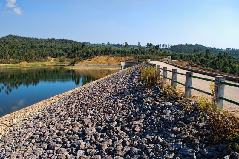 Lots of rocks at Carril Water Dam in the City of Tomar