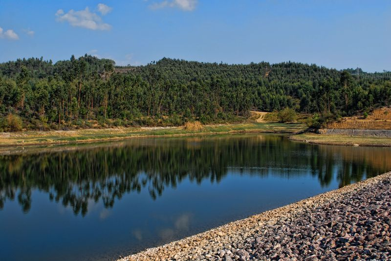Rocks on the banks of Carril Water Dam in the City of Tomar