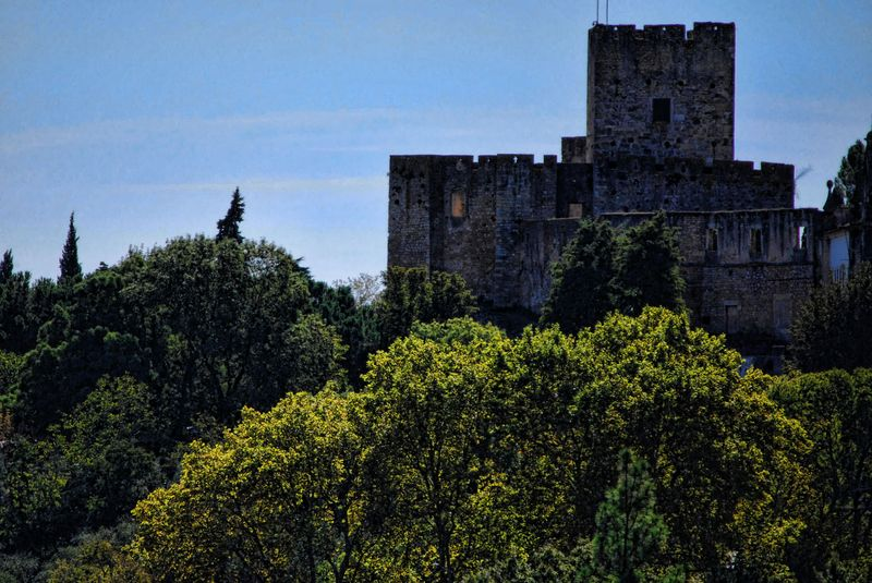 Close range of the Castle of the Knights Templar in the City of Tomar