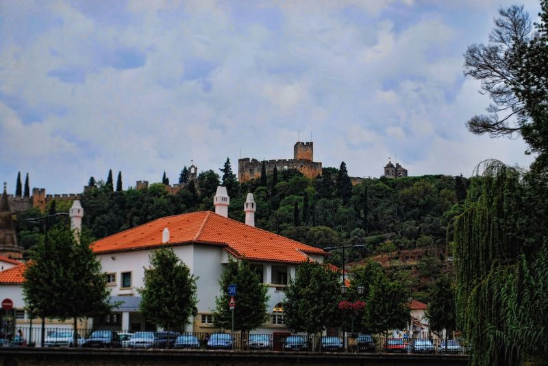 Castle of Tomar in the distance from Mouchão Park