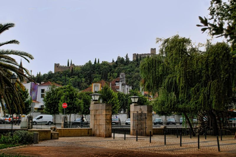 The Castle of the Knights Templar from Mouchão Park in Tomar