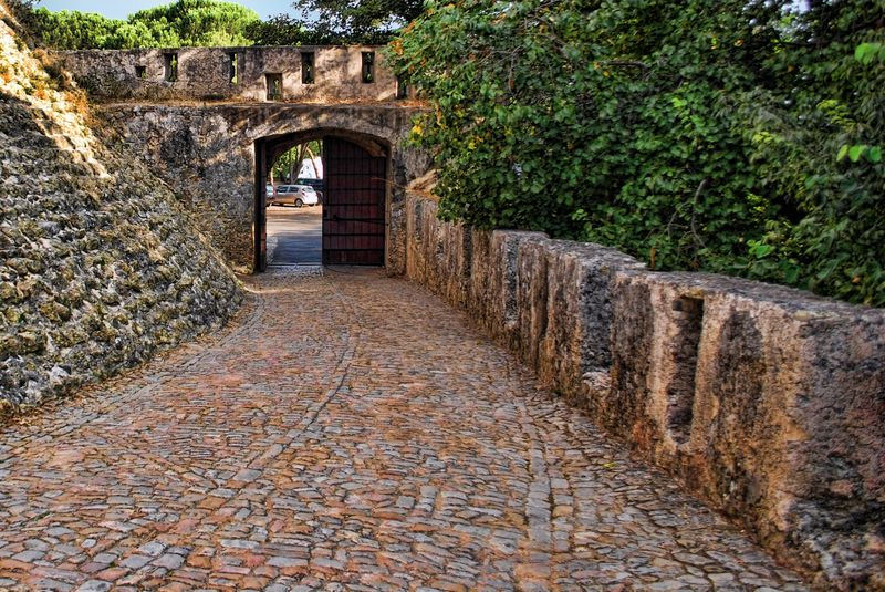 Cobblestone pathway at the Castle of the Knights Templar in Tomar, Portugal