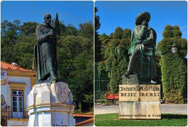 The statues in Tomar of Gualdim Pais and Henry the Navigator