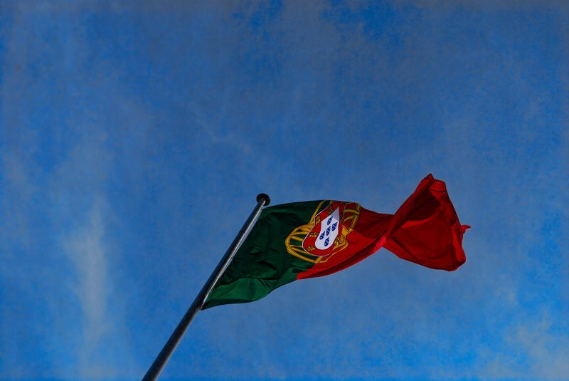 The Flag of Portugal in Tomar