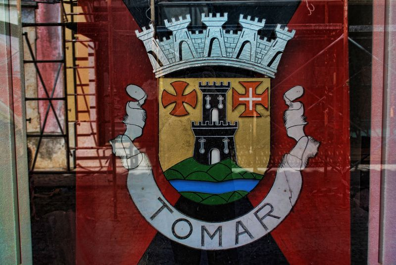Flag of the City of Tomar with Coat of Arms