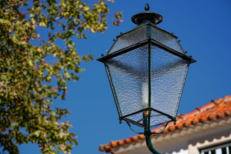 Old street lamp near Santa Iria Inn in the City of Tomar