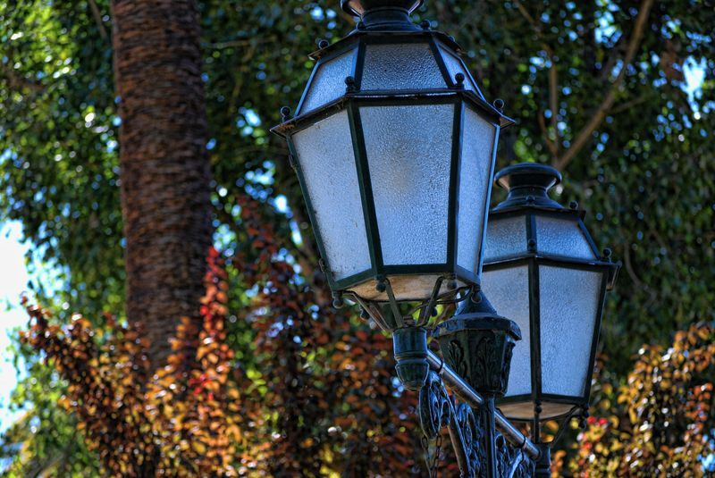 Old street lamps at Varzea Pequena in the City of Tomar in Portugal