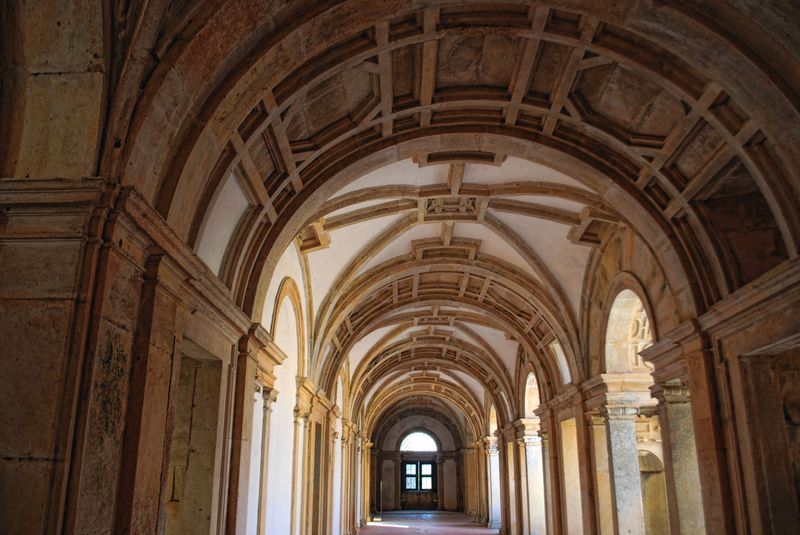 Gothic style corridor at Christ Convent in the City of Tomar
