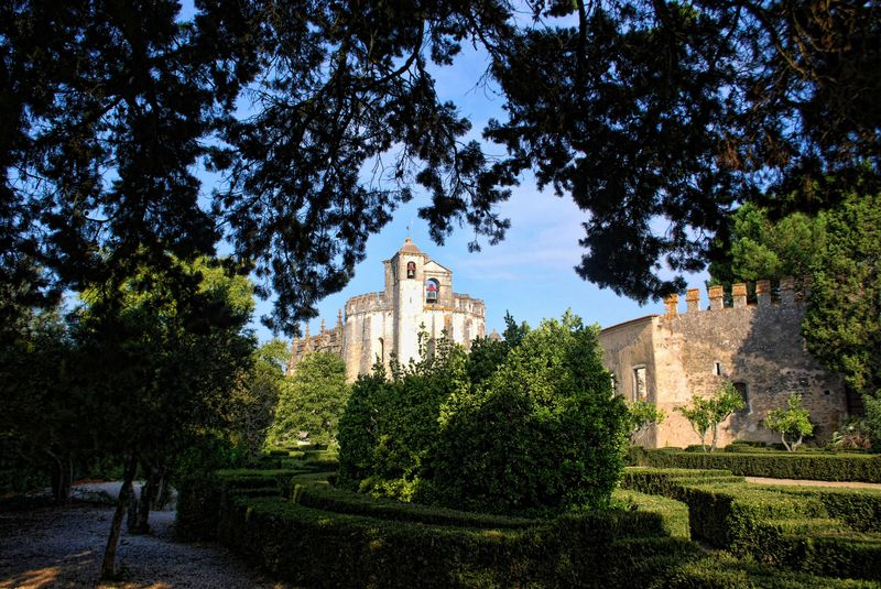 Garden outside at the Convent of Christ in the City of Tomar in Portugal