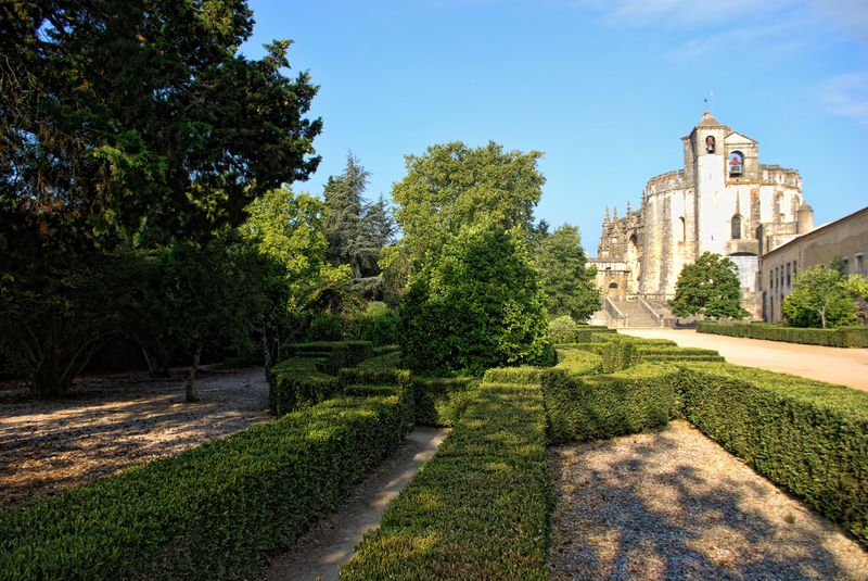 Garden outside the Round Church at the Convent of Christ in the City of Tomar