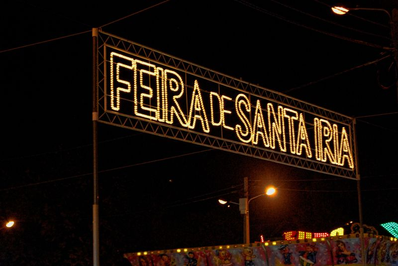 Neon sign of the Santa iria Showgrounds in the City of Tomar