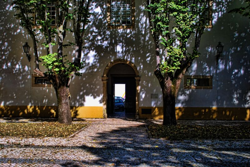Courtyard of São Francisco Convent in Tomar, Portugal