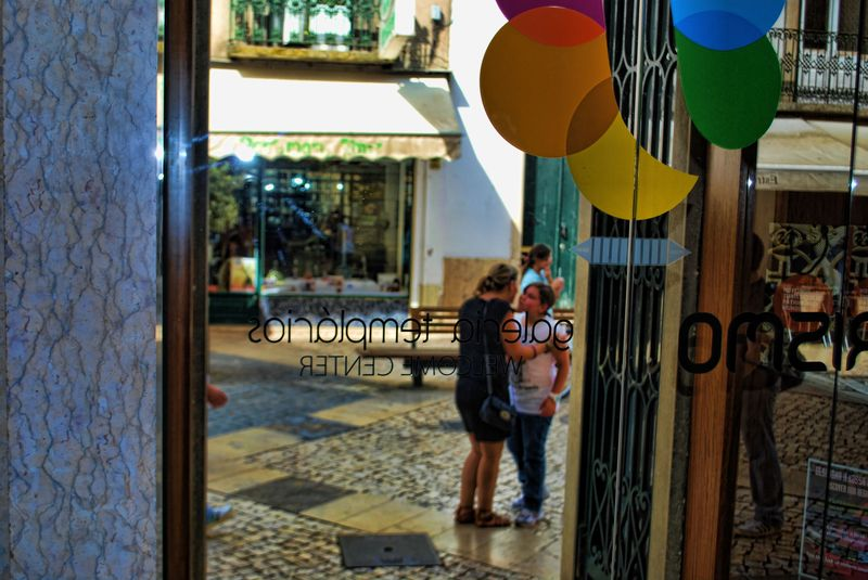 Glass door at the Tourist Centre of the City of Tomar in Portugal