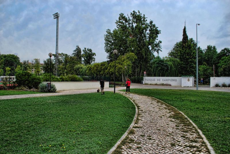 Camping Park at Mouchão Park in the City of Tomar in Portugal
