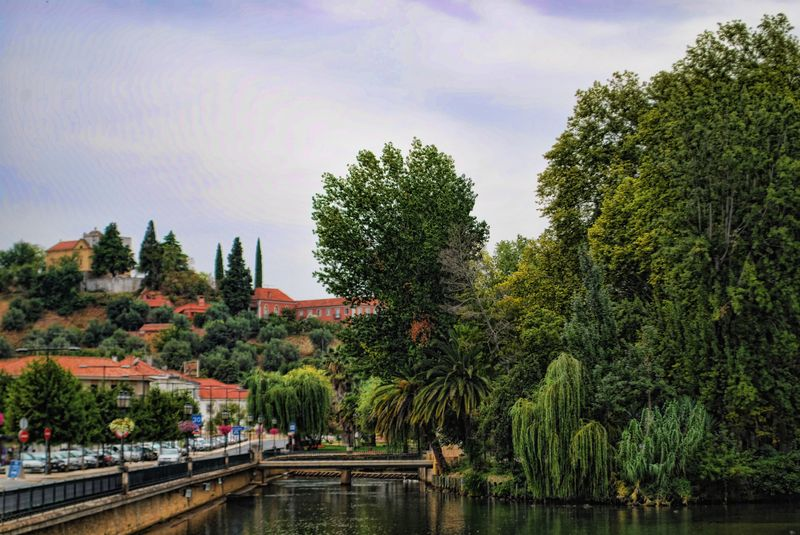 Mouchão Park and Nabão River in the City of Tomar, Portugal