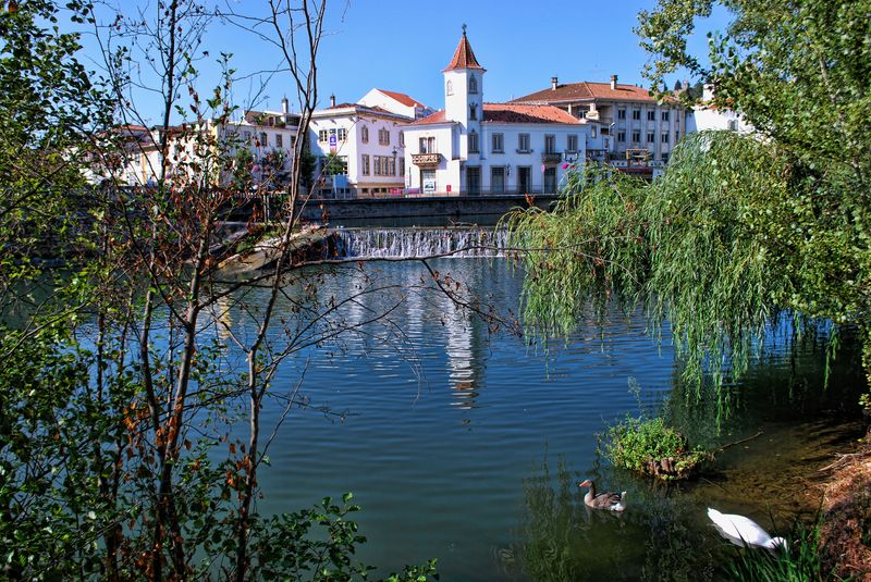 Falls of Nabão River in the City of Tomar in Portugal