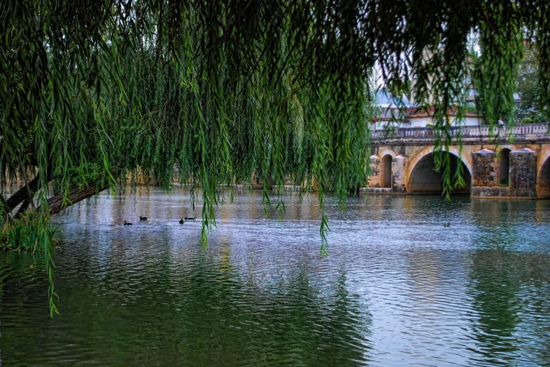 Nabão River and the Old Bridge in the City of Tomar in Portugal