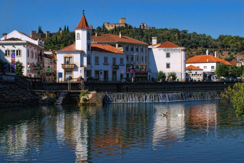 Nabão River falls in the City of Tomar in Portugal
