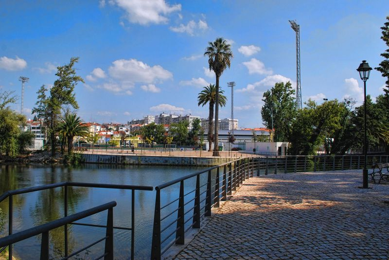 Nabão River from Mouchão Island in the City of Tomar in Portugal