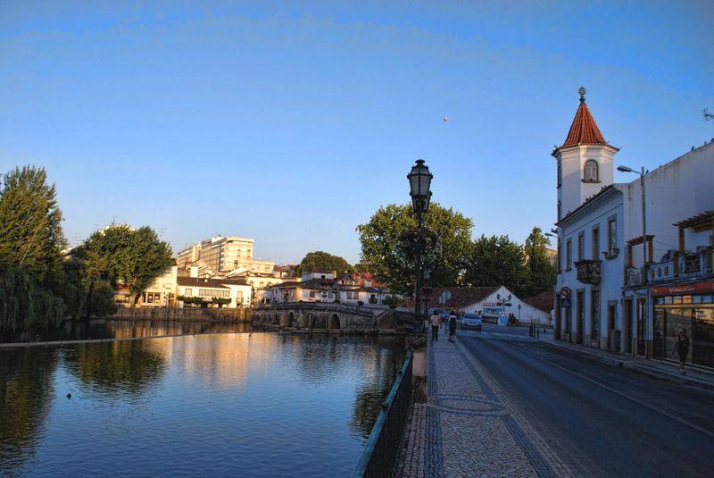 Nabão River near Estrelas de Tomar cofee shop in the City of Tomar in Portugal