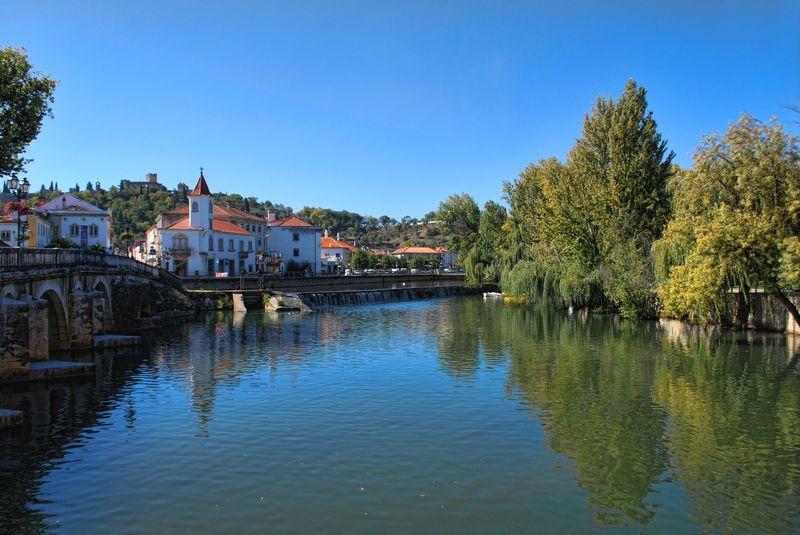 Nabão River in a sunny day in Tomar