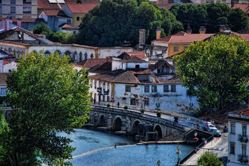 Nabão River in the City of Tomar in Portugal, from a distance