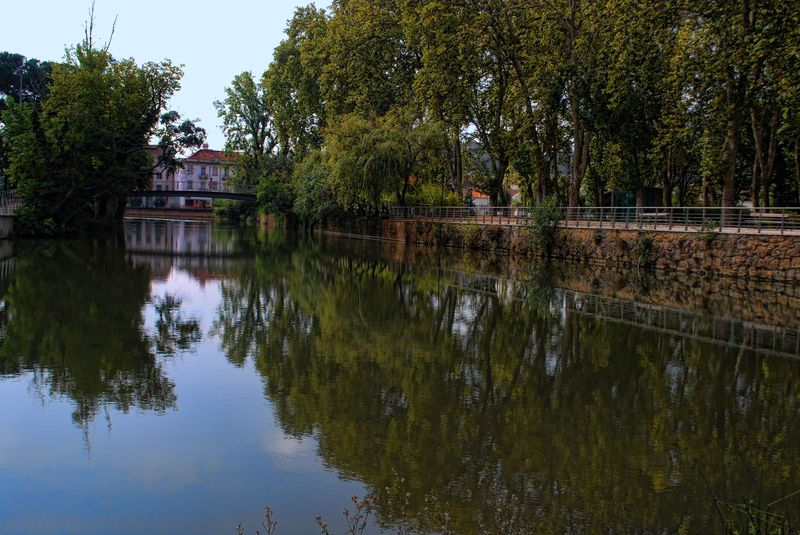Nabão River reflections in Tomar, Portugal