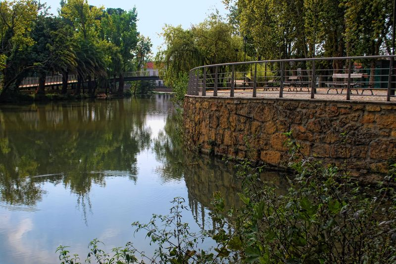 Nabão River reflections at Mouchão Park in the City of Tomar