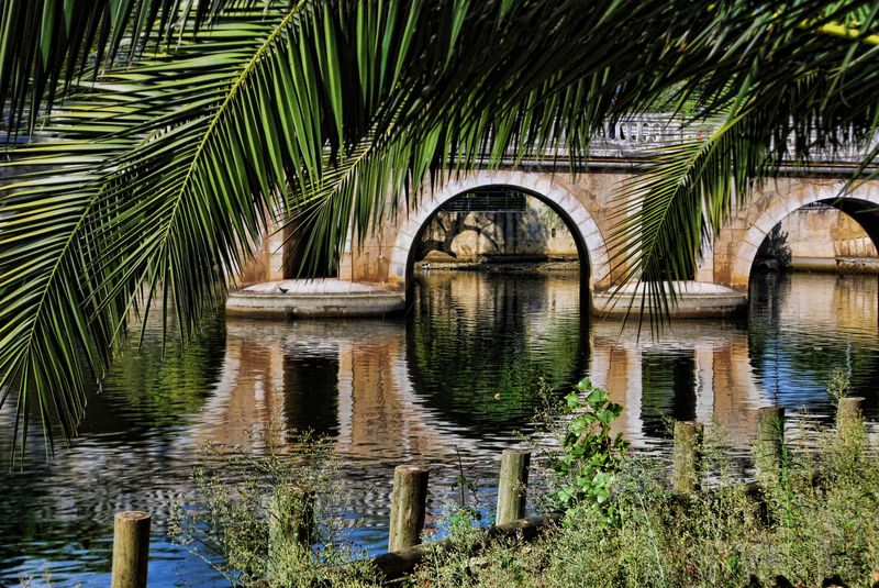 Old Bridge water reflections at Nabão River in the City of Tomar in Portugal