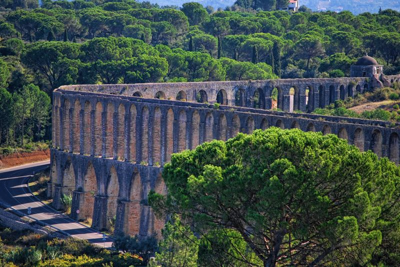 Close up of the Aqueduct of Pegões in the City of Tomar in Portugal