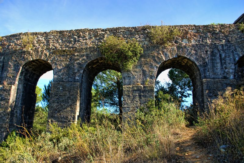 Arches of the Aqueduct of Pegões in the City of Tomar