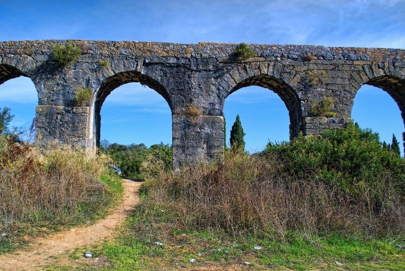 Arches of Pegões Aqueduct in the City of Tomar