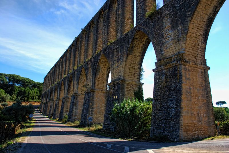 Asphalt road at the Aqueduct of Pegões near the City of Tomar in Portugal