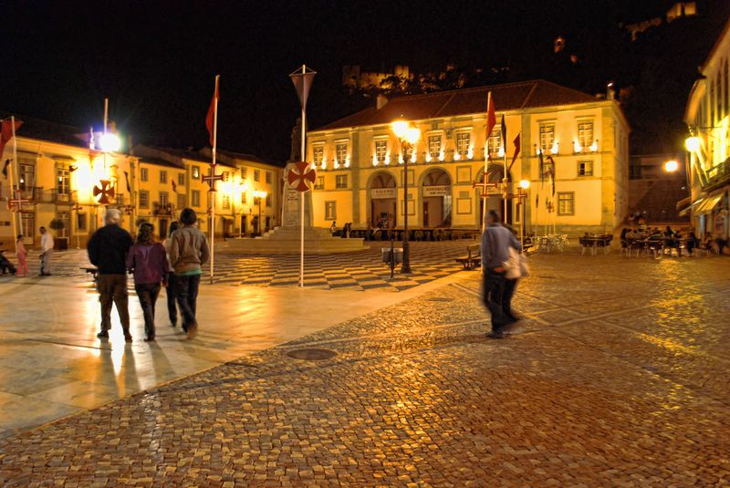 People at Praça da República in the City of Tomar, at Night