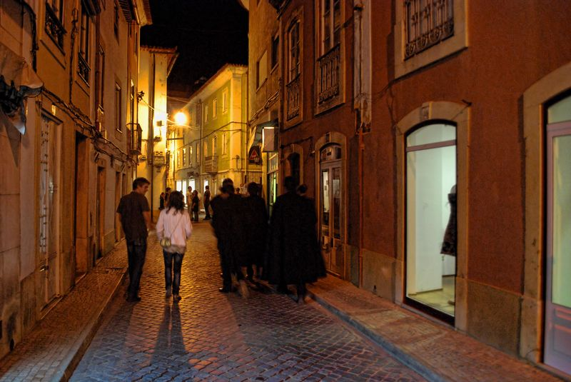 Students at Rua Infantaria 15 in the City of Tomar in Portugal