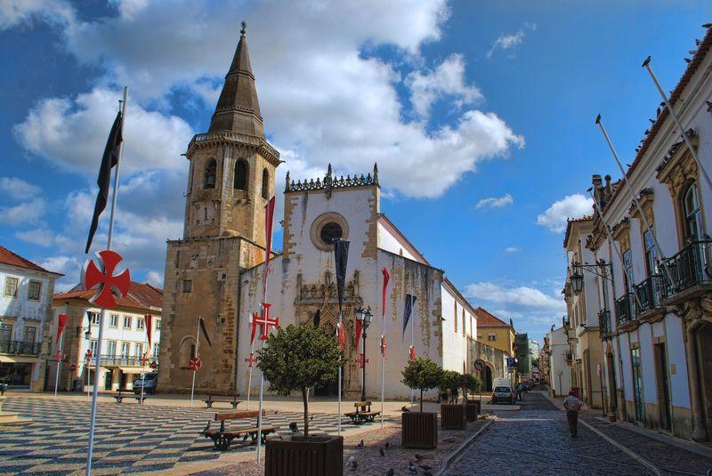 Republic Square and Rua de São João Baptista in the City of Tomar in Portugal