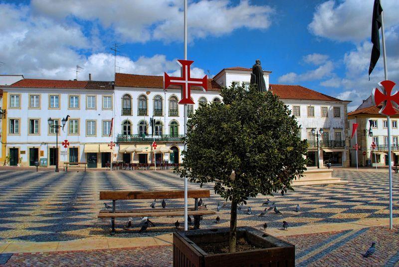 Cobblestones pavement at Republica Square in Tomar