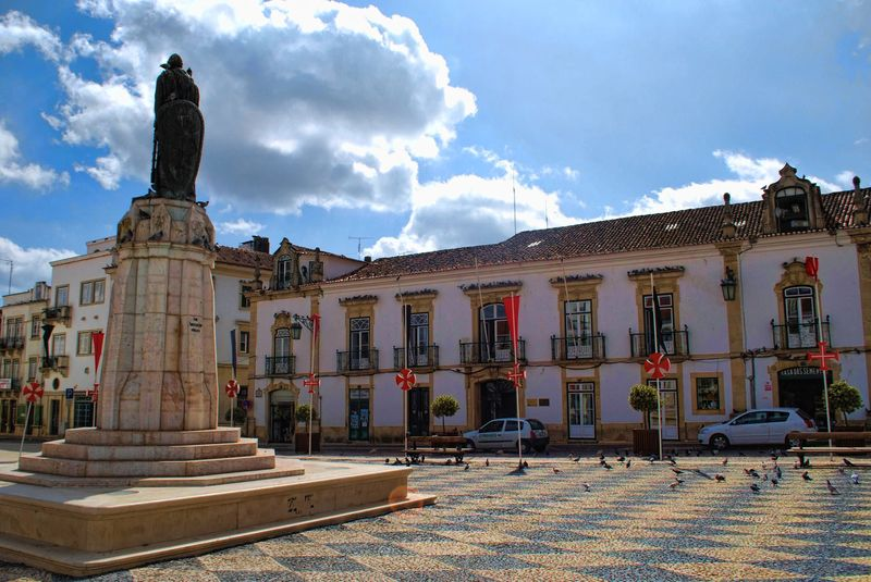 Statue of Gualdim Pais at Republic Square in the City of  Tomar in Portugal