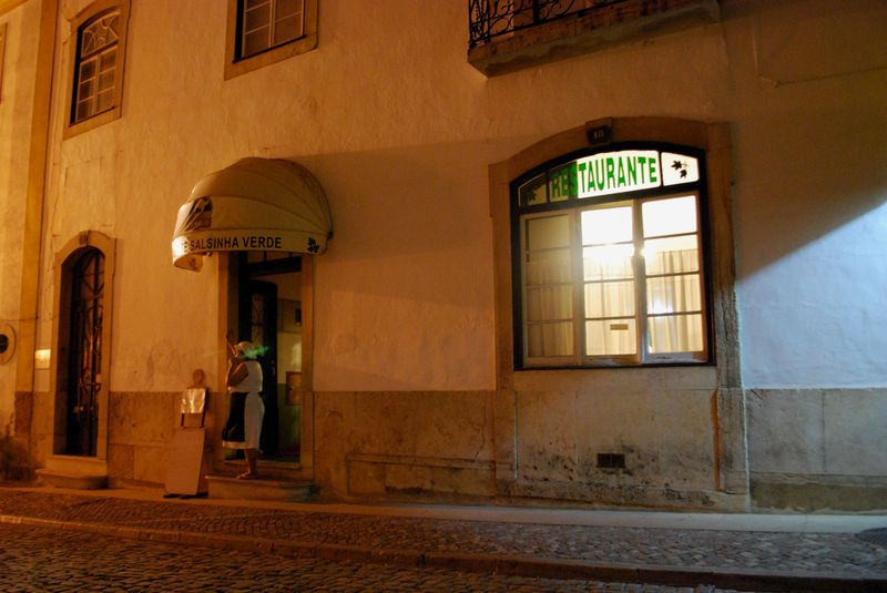 Salsinha Verde Restaurant at night in the City of Tomar in Portugal