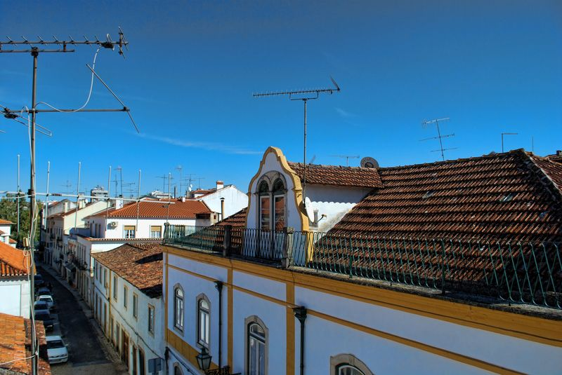 Antennas on rooftops at Rua Alexandre Herculano in the City of Tomar