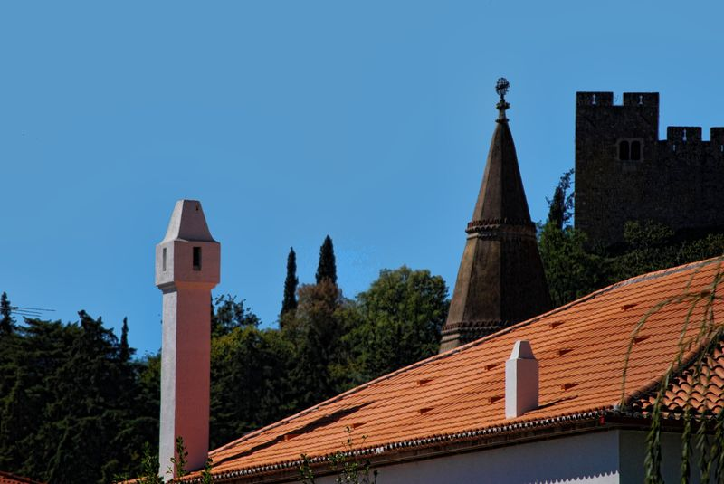 Castle behind the rooftop of the Post Office of the City of Tomar