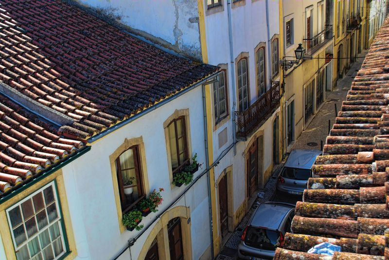 Rooftops at Rua Alexandre Herculano in the town of Tomar in Portugal