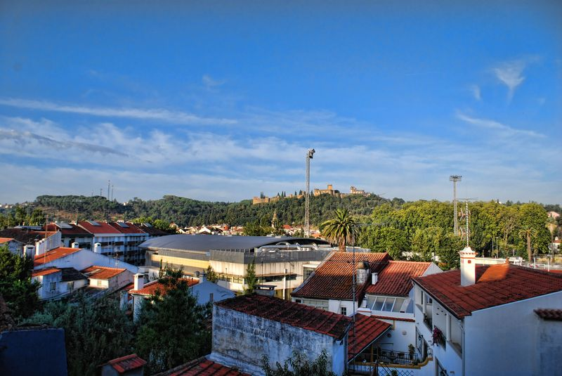 Rooftops and a view overlooking the Castle of the Knights Templar