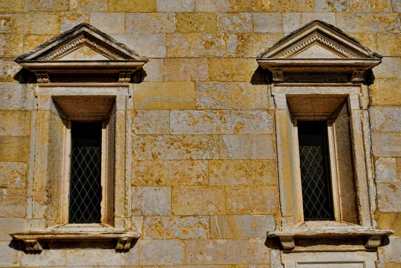Windows outside the Chapel of Senhora da Conceição in Tomar, Portugal