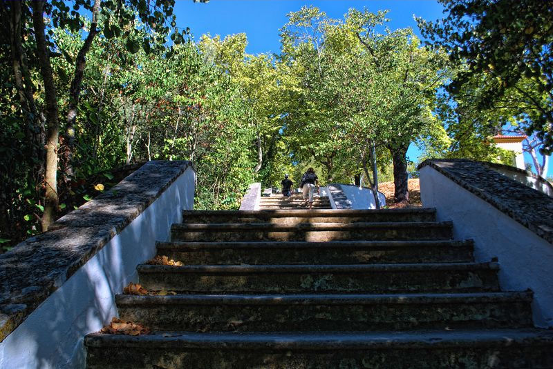 Staircase climbing to Senhora da Piedade in the City of Tomar in Portugal