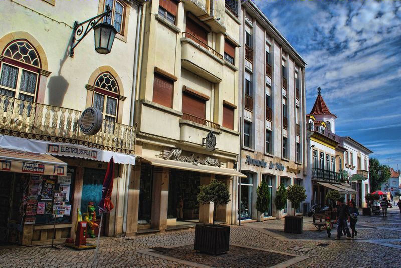 A newsagent, a boutique and a decoration shop in the City of Tomar in Portugal