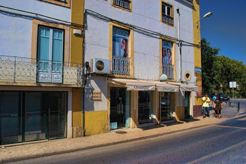 Shops at Rua Everard in Tomar, Portugal