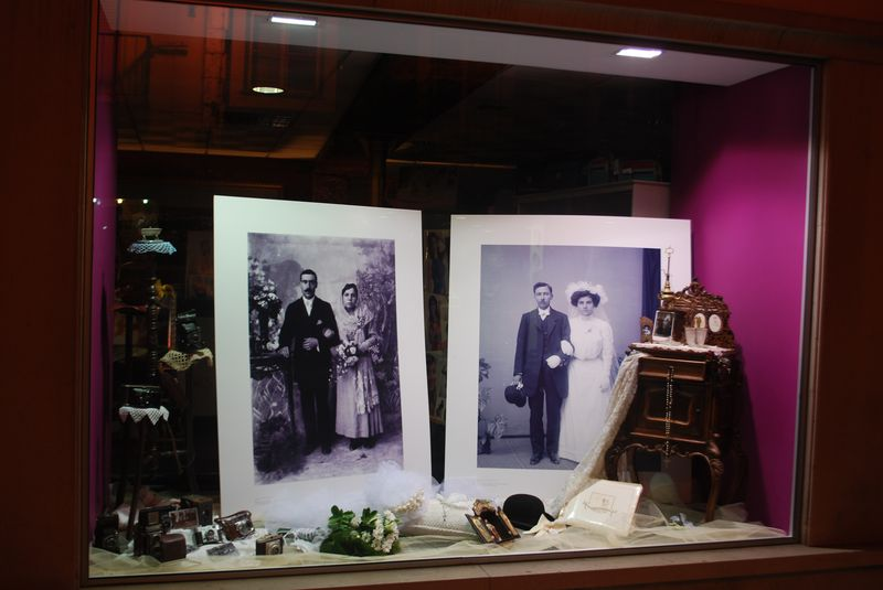 Photography shop with old wedding photos