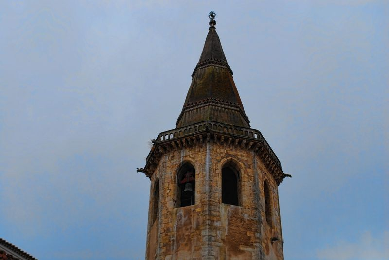 Bell tower of the Church of St. John the Baptist in the City of Tomar in Portugal